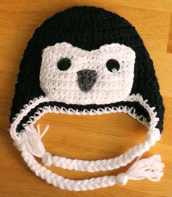 Crochet Penguin Hat Baby Penguin Hat Toddler Child by dsgnGrl