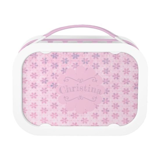 Grungy Pink Flowers Personalized Yubo Lunch Box