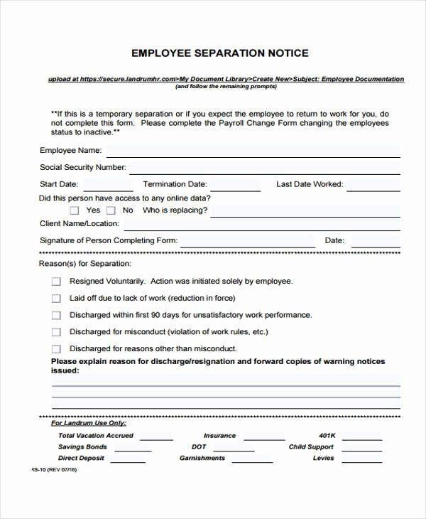 30 Employee Separation Form Template In 2020 With Images