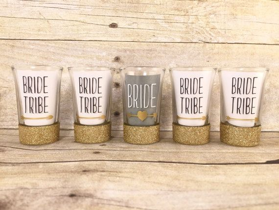 Bachelorette Party Shot Glasses - Bride Tribe Shot Glass Set - Bachelorette…