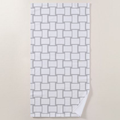 Blocks White Gray Modern Beach Towel - home gifts ideas decor special unique custom individual customized individualized