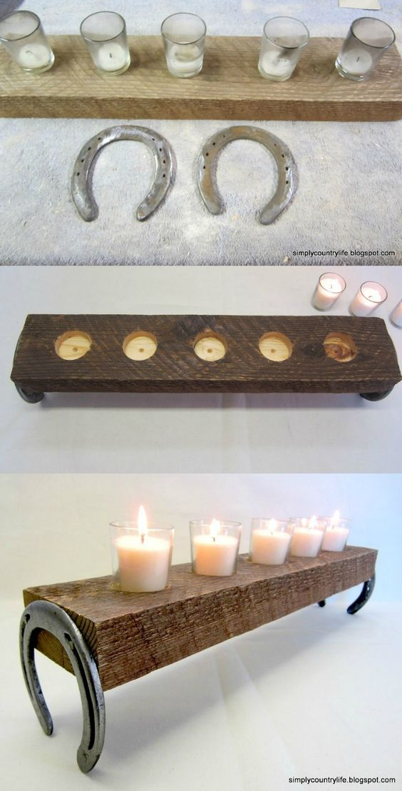 Repurpose horseshoes into a rustic candle holder.