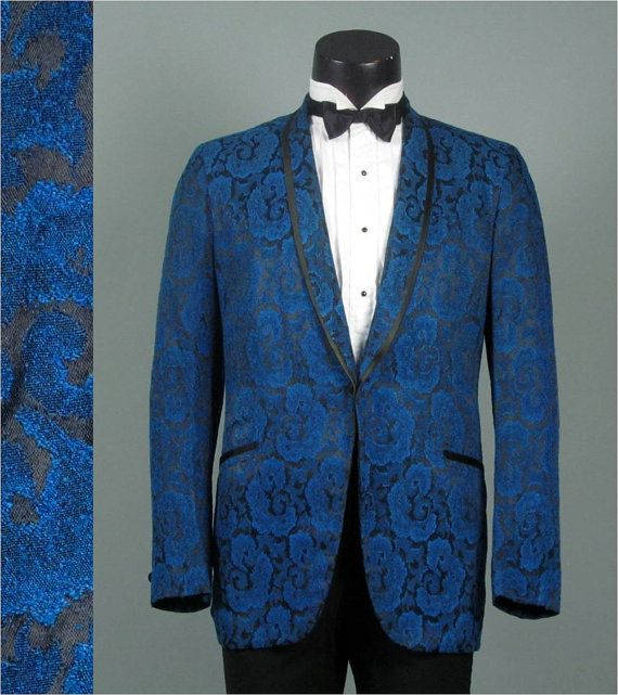 Mens Vintage Tuxedo Jacket 1960s PEACOCK BLUE by jauntyrooster, $175.00