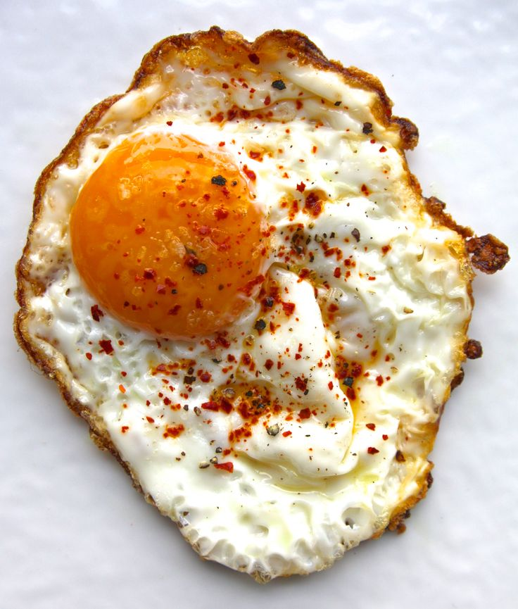 Fried egg with Aleppo pepper, smoked sea salt, and black pepper