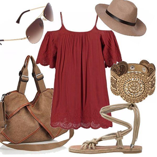 """Un outfit dedicate alle bellezze """"petite"""", ispirato allo stile delle celebri gemelle Olsen. Abito e borsa maxi, cappello e sandali estivi, il tutto impreziosito da un luminoso bracciale a fascia."""