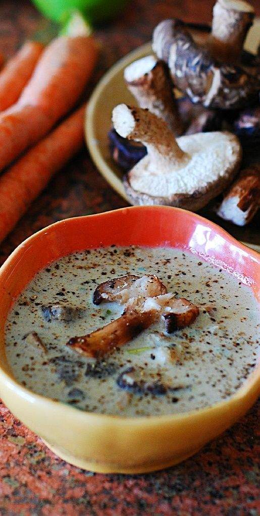 Creamy wild mushroom soup with Shiitake mushrooms. The creaminess in this soup comes from pureed mushrooms, not heavy cream. Low-fat Cream of mushroom soup | JuliasAlbum.com