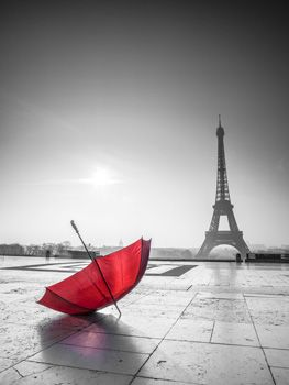 Red Umbrella with Eiffel Tower - Black and White print on canvas and paint over the umbrella