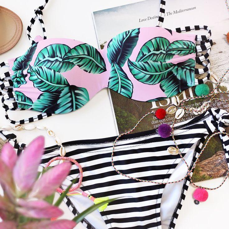 Bikini print bladeren roze, Badkleding