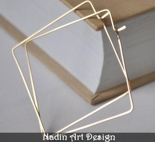 Gold Square Hoop Earrings. Geometric Hoops from NadinArtDesign by DaWanda.com