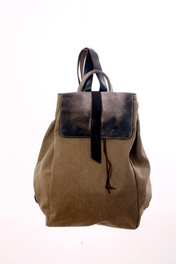 Backpack, Heavy Cotton and FADED  Leather, , Rucksack Day Pack, Cabin Bag, Messenger Bag Travel bag