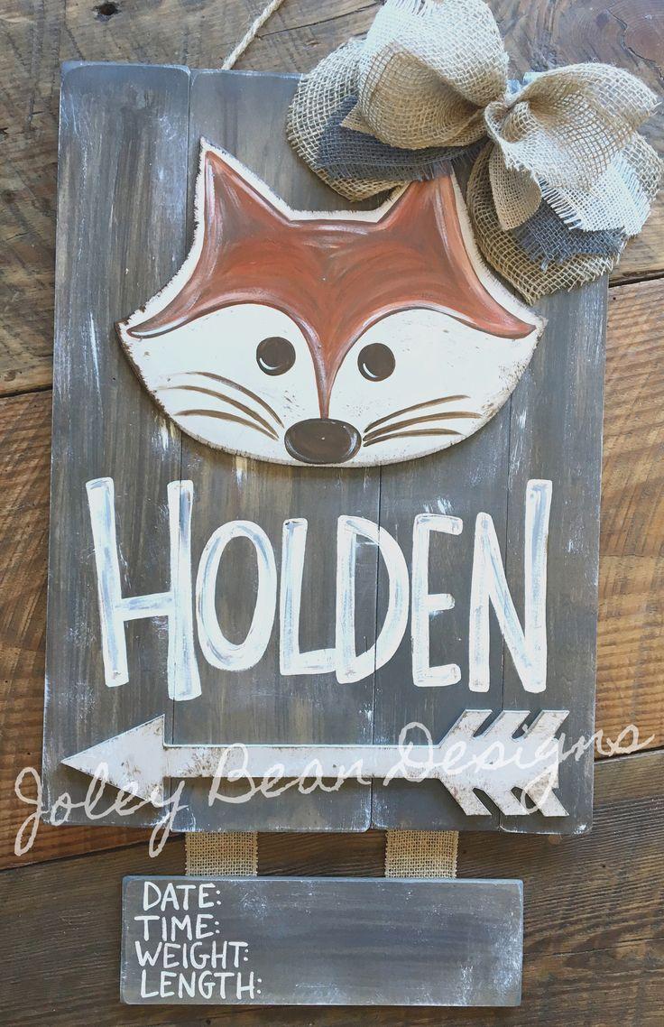 #joleybeandesigns #bykassidy Hospital door hanger, fox, nursery