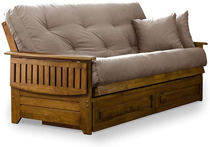 Amazon Com Nirvana Futons Brentwood Tray Arm Futon Frame Drawers And Microfiber Khaki Mattress Set Queen Heritage Finish Futon Frame Futon Mattress Sets Wooden futon frame and mattress set