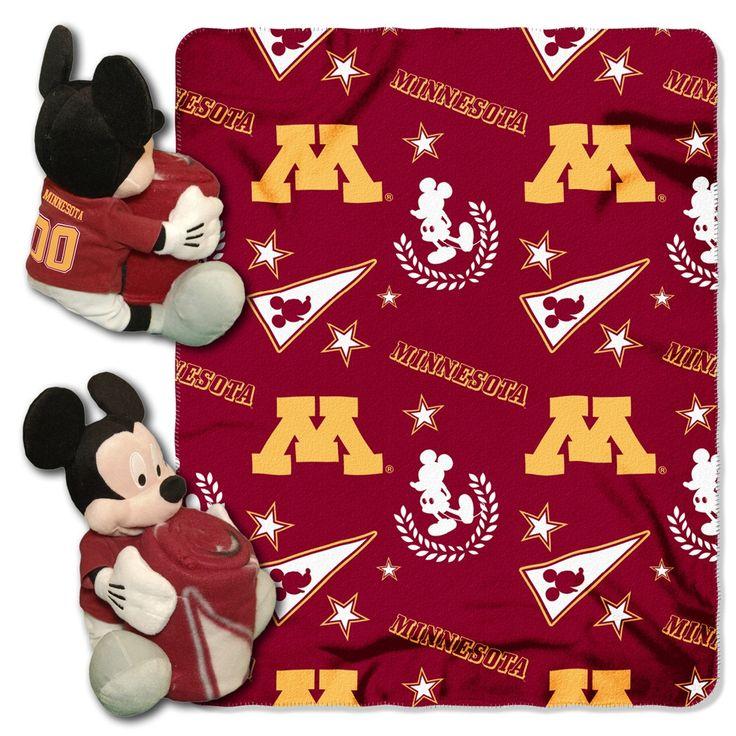 "Minnesota College - Disney 40X50 Fleece Throw W/ 14"" Plush Mickey Hugger"