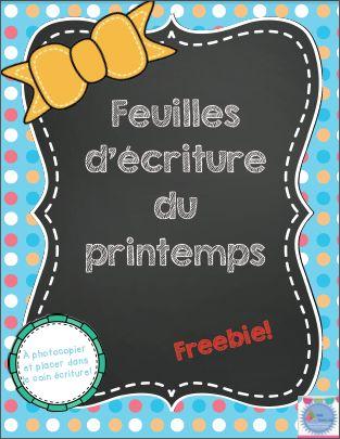 French FREEBIE: Feuilles d'écriture du printemps de Mme Émilie