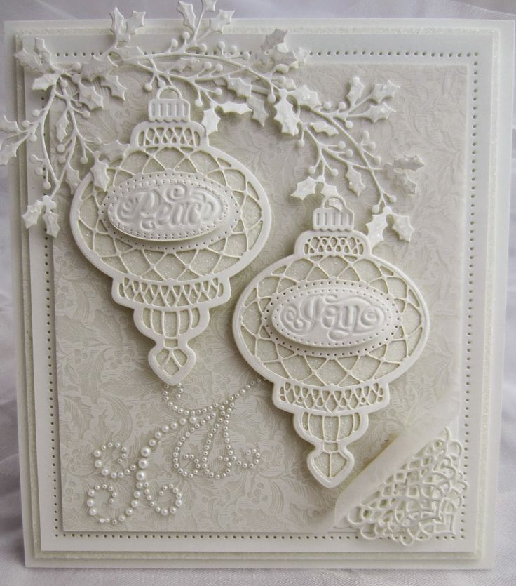 Hello my crafty friends! It is a white on white sort of day and this Bauble Christmas card is...