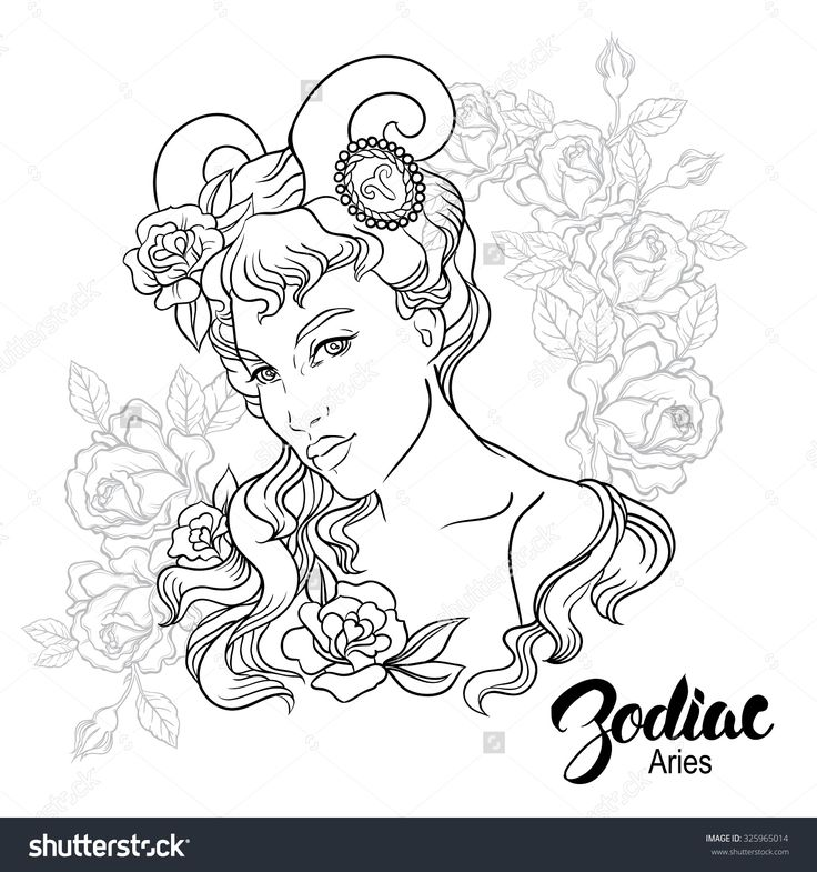 Zodiac Aries Girl Coloring Page