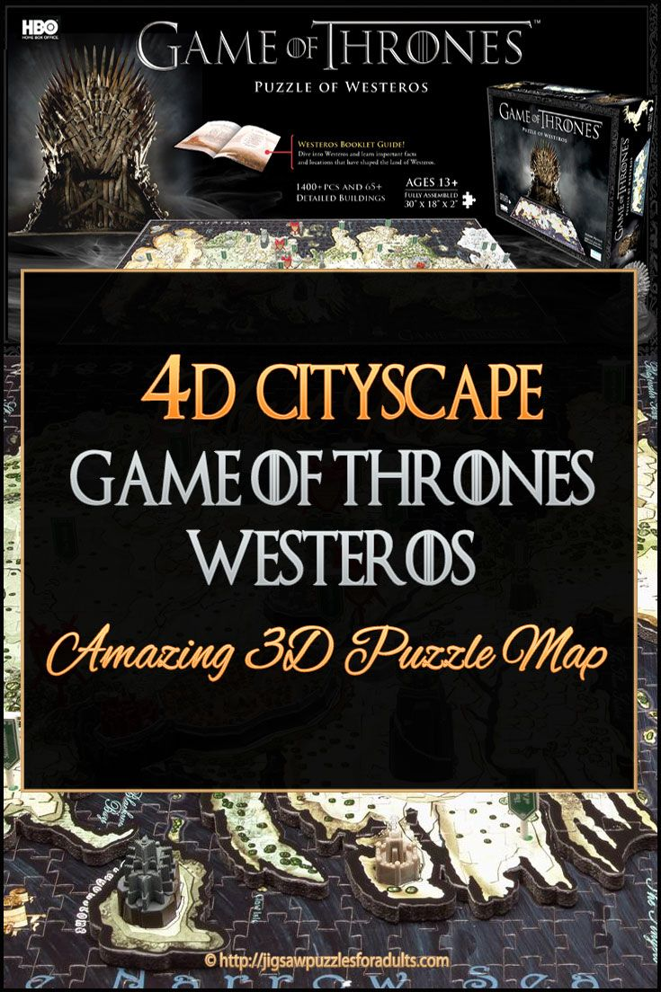 4d Cityscape Game of Thrones Westeros Puzzle Map - is one the most amazing cool jigsaw puzzles we've seen lately. If you're a diehard Game of Thrones fan you'll find that this 4d Cityscape Game of Thrones Westeros Puzzle is not only unique but also a difficult jigsaw puzzle to work on. If you're up for the challenge this 4d Cityscape Game of Thrones Westeros World jigsaw puzzle map may be just what you're looking for.