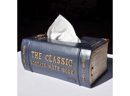 Ancient Classic Book Style Tissue Box Cover, Royal Blue - $65.00 »  You can hide the tissues in the bookshelf, and no one will ever know. This is very sneaky-cool.