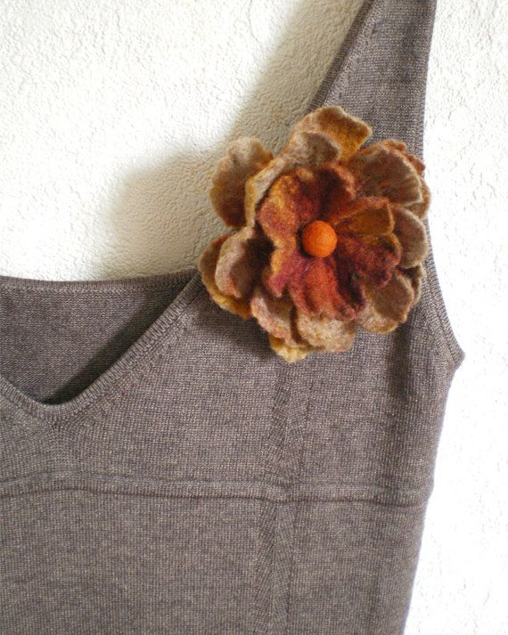Felt Flower Brooch Eco Friendly Jewelry Earthy Shades by IssaFelt, $18.00