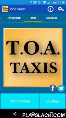 TOA Taxis Birmingham  Android App - playslack.com ,  Thank you for your interest in the TOA Taxis Birmingham Android App.This App allows you to book a Black Cab vehicle from TOA Taxis Birmingham. UK.You can:• Make a booking• Check it's status• Cancel a booking• Track the vehicle on a map• Manage your previous bookings• Manage your favourite addressesThe App is intended for U.K. use only, and therefore all addresses are restricted to within the U.K. Dank u voor uw interesse in de TOA Taxis…