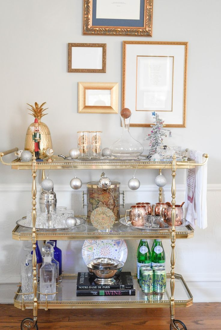 Silver bells #barcart for christmas 2015 Simple Christmas Dining Room Decortions | Home With Keki