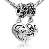 Brighton Heart Mother & Daughter Beads Charm- Pandora Charms Bracelet Compatible Gifts For Mom. $9.99