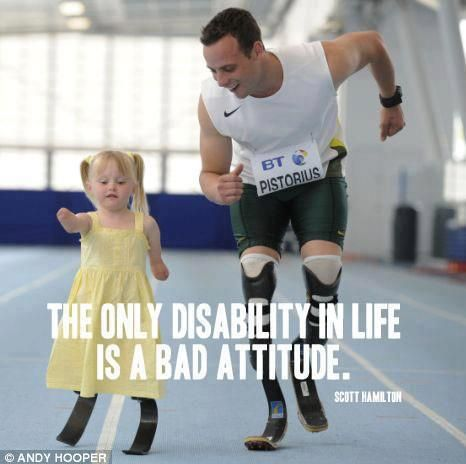 Oscar Pistorius finished second in his 400m heat in a time of 45.44 seconds to reach Sunday's Olympic semi-final. >> True words.: Little Girls, Track And Field, South Africa, True Words, No Excuses, Blade Runners, Role Models, Positive Attitude, Oscar Pistorius