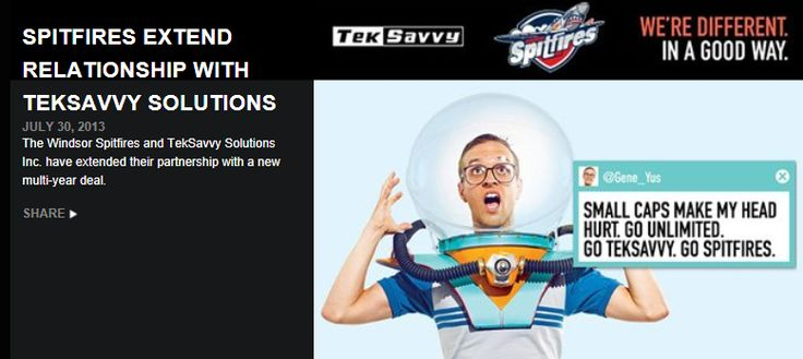 TekSavvy Solutions Inc. and The Windsor Spitfires have extended their partnership! Click http://www.windsorspitfires.com/article/spitfires-extend-relationship-with-teksavvy-solutions to read more!  Visit:  http://teksavvy.com/