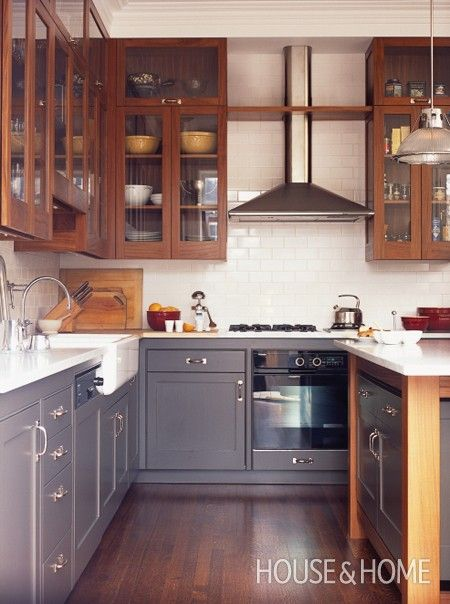 Photo Gallery: Bistro & Restaurant-Style Kitchens | House & Home More affordable version -- Ikea bottoms (new grey line) and custom uppers