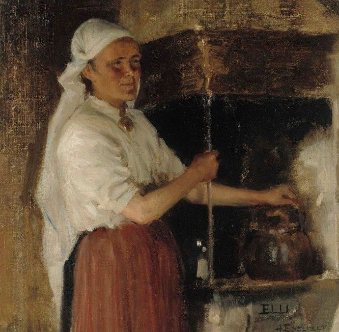 """Albert Edelfelt - Elli Jäppinen lieden ääressä - Elli Jäppinen at the stove -1887 - Finland. """"She is wearing the white veil that was the mark of a married woman, retained in western parts of South Karelia until the end of the 19th century."""""""