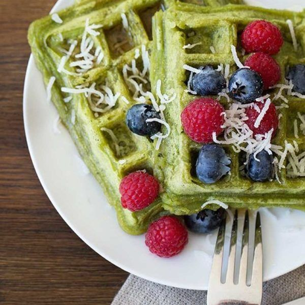 Coconut Matcha Waffles - 2 tsp organic matcha1 cup gluten-free flour (will result in softer texture)1tsp baking powder1/4 tsp baking soda1 tbsp coconut oil1.5 cup coconut milk (adjust to match the density of your flour)Natural sweetener of your choice: e.g., organic maple syrup.Your favorite toppings:Blueberry, raspberry, coconut flakes...In a large bowl, add coconut milk to all dry ingredients and blend until smooth.Preheat your waffle maker andspray with cooking oil. Cook batter…