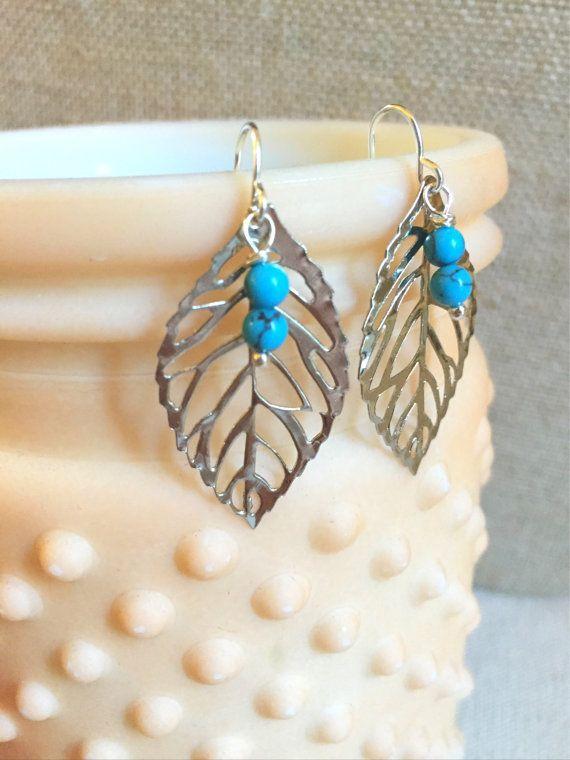 Turquoise Beaded Earrings Fall Leaf Earrings by LaniMakana