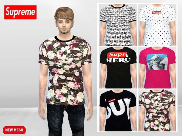 Large Supreme T-shirts by McLayneSims at TSR • Sims 4 Updates
