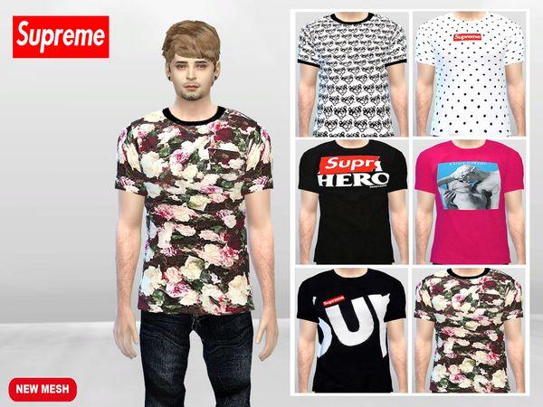 Large Supreme T-shirts by McLayneSims at TSR • Sims 4 ...