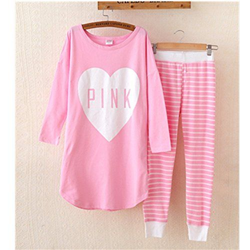 KAKATM Womens Fashion Cartoon Pink Love Pure Cotton Pyjamas Homewear Sleepwear Set Long Sleeve Long Pants XXL -- Check out this great product.