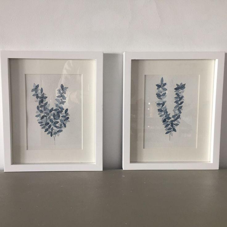 Leaf Art Print Watercolor Painting Set 2 Blue. Lamina Watercolor de la Colección BOTÁNICAS Decoración