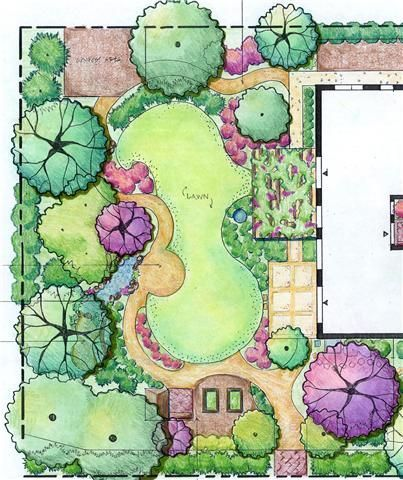 Side Yard Too😉Beautiful Marker Rendering Of A Backyard Landscape Plan,  Garden Plan