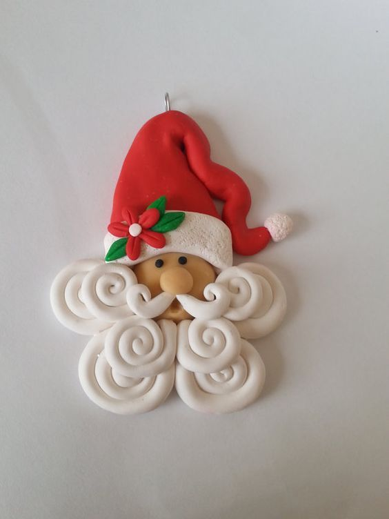 Handcrafted Polymer Clay Santa Christmas Ornament **Handmade out of Polymer Clay **Made to Order **Unique **Stand Not Included