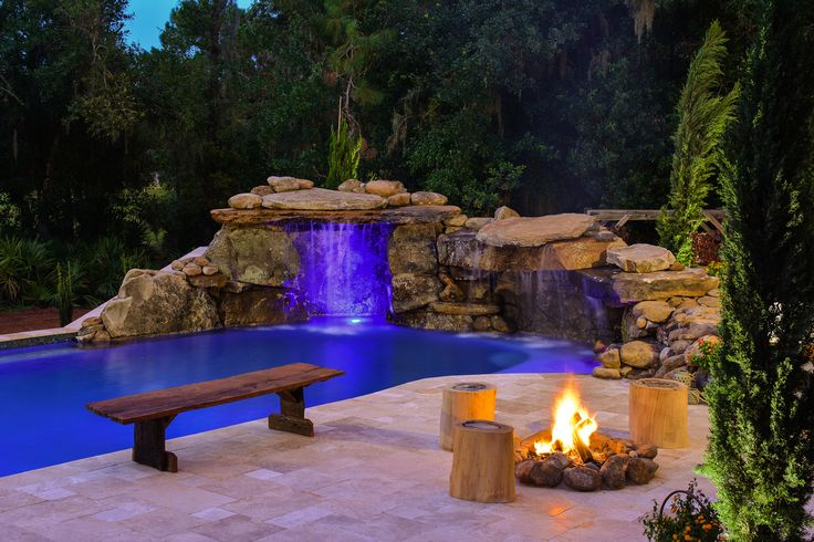 Mountains In Florida More Specifically The Clients Requested A Colorado Feel For Their New Outdoor Living Spa Pools Backyard Decor Insane Pools Custom Pools