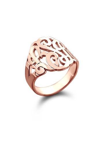 14k Rose Gold Three Initial Lace Monogram Ring
