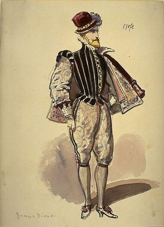 Kostümentwurf für eine männliche Figur, spanischer Edelmann, in 'Donna Diana' von Agustín Moreto y Cabana | Franz Gaul | Bildindex der Kunst & Architektur