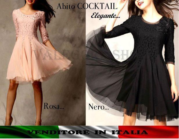 Vestito abito QUALITA  dress COCKTAIL elegante cerimonia pizzo tulle dress BELLO