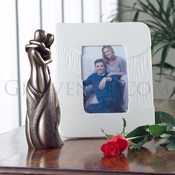 Belleek Sandwave frame & Genesis bronze The Lovers Gift Set. Gifts for wedding, engagement, anniversary