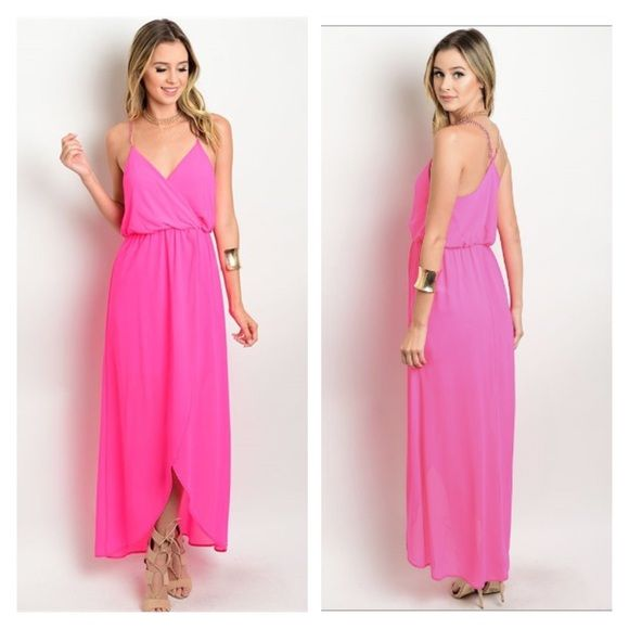 Hot pink maxi dress This dress is sure to catch someone's eye! Bright hot pink dress perfect for summer. Spaghetti strap backing has chain detailing. Made is USA 100% polyester Dresses Maxi