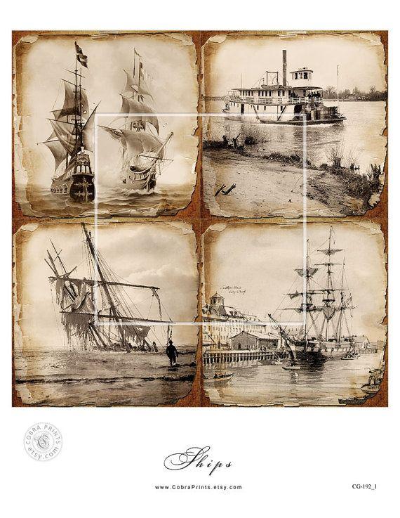 """3 Digital Collage Sheets - antike Schiffe - 4 """"x 4"""" Fliesen - druckbare digitale Downloads für Scrapbooking, Bierdeckel, Aufkleber, Handwerk CP-192"""