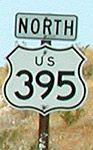 [US 395 shield in San Bernardino county, California.]