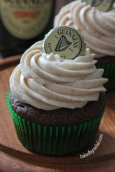 Guinness Chocolate Cupcakes with Cinnamon Cream Cheese Frosting
