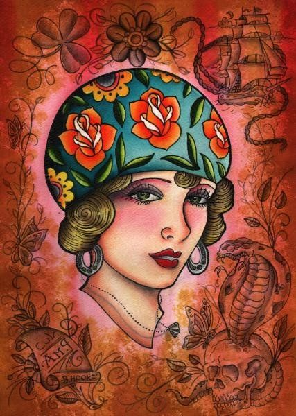 P.M.A. Brandon Hook Gypsy Pirate Girl Tattoo Canvas Giclee Art Print – moodswingsonthenet