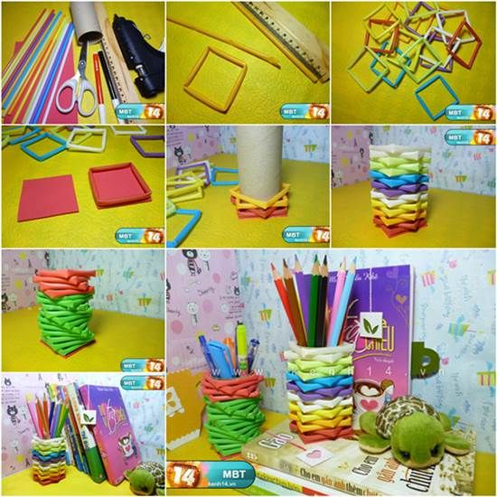 How to transform your drinking straws and toilet paper rolls into cute pencil holders, so creative ! Directions--> http://wonderfuldiy.com/wonderful-diy-colorful-pencil-holder-from-drinking-straws/ More #DIY projects: www.wonderfuldiy.com