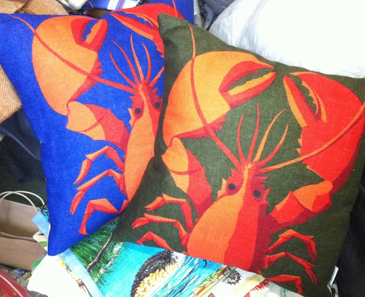 vintage lobster print tea towel cushions.